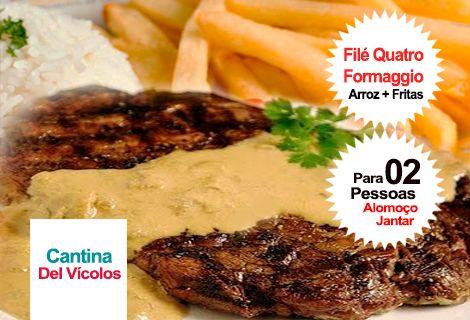 Filé Quatro Formaggio + Arroz + Fritas / Cantina De Vícolos